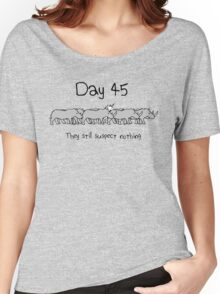 Day 45. They still suspect nothing. (Unicorn + Rhinos) Women's Relaxed Fit T-Shirt