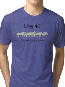 Day 45. They still suspect nothing. (Unicorn + Rhinos) Tri-blend T-Shirt