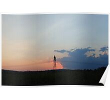 Sun Set with Grid Poster