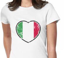 Italian Flag Heart Womens Fitted T-Shirt