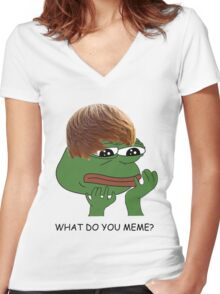 what do you mean? meme* Women's Fitted V-Neck T-Shirt
