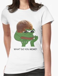 what do you mean? meme* Womens Fitted T-Shirt
