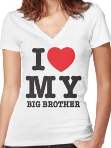 I love my big brother Women's Fitted V-Neck T-Shirt