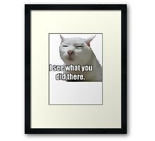 i see what you did  meme cat Framed Print
