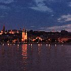 Budapest the Danube River at night.Number 5. Dry Brush Photoshop by Anatoly Lerner
