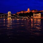 The Chain Bridge. The Danube River in Budapest at night. Number 3 by Anatoly Lerner