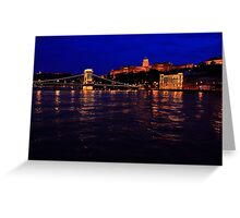 The Chain Bridge. The Danube River in Budapest at night. Number 3 Greeting Card
