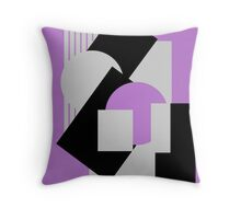 Geometrical abstract art deco mash-up gray purple Throw Pillow