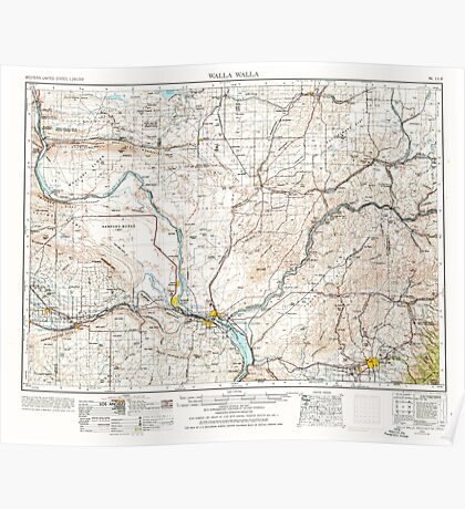 USGS Topo Map Washington State WA Walla Walla 244507 1953 250000 Poster