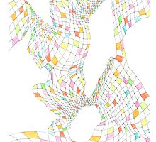 Geometric landscape multi colour rainbow 03 drawing  by BellaBark