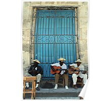 Havana musicians, the 'Los Mambises' band in Cuba. Poster