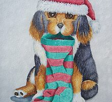 cute black and brown puppy with christmas stocking by pollywolly