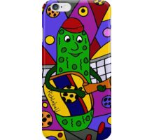 Cool Pickle Playing Pickleball Paddle Guitar iPhone Case/Skin