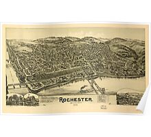 Panoramic Maps Rochester Pennsylvania 1900 Poster