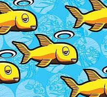 Angel Fish School - Abstract Scuba by jhawkinsart