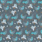 blue birds on dark gray by demonique