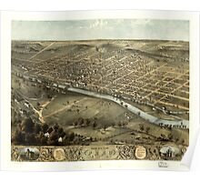 Panoramic Maps Bird's eye view of the city of Peru Miami Co Indiana 1868 Poster