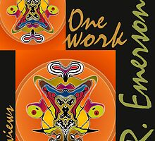 """One work, Two Views"" Commemorative Poster by L. R. Emerson II from the Upside-Down Drawing Art Movement; Upsidedownism, Topsy Turvy Art, Ambigram Art, or Masg Art  by L R Emerson II"