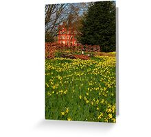 the Kew Palace with daffodils Greeting Card