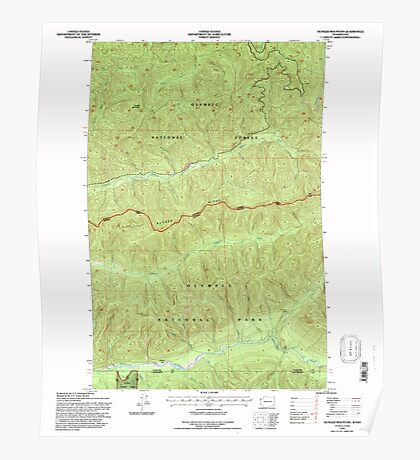 USGS Topo Map Washington State WA Hunger Mountain 241612 1995 24000 Poster