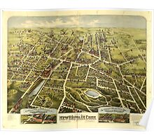 Panoramic Maps View of New Britain Conn 1875 Poster