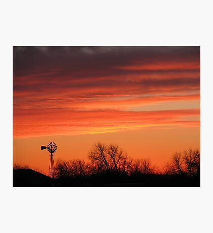 Colorful Orange Windmill at Sunset Winds of Change Photographic Print