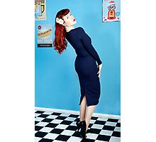 UK Pin Up Stephanie Jay Blue Diner Photographic Print