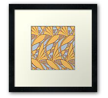 Modern art nouveau tessellations gamboge and azure Framed Print