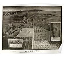 Panoramic Maps Birdseye view from South Broadway showing Harlem Jacksons Broadway Heights & city of Den Poster