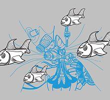 3 Color Fish School by jhawkinsart