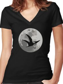 Dinosaur Moon Silhouette - Pterodactyl Women's Fitted V-Neck T-Shirt