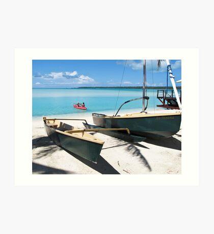 yacht on the beach Art Print