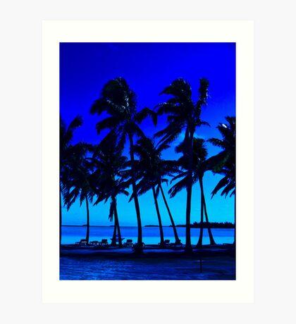 blue silhouette palm trees Art Print