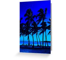 blue silhouette palm trees Greeting Card