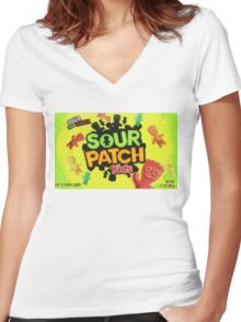 Sour Patch Kids candy package front Women's Fitted V-Neck T-Shirt