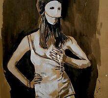 girl in white mask (after Joel-Peter Witkin photo) by Loui  Jover