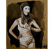 girl in white mask (after Joel-Peter Witkin photo) Photographic Print