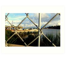 Dock Through Chain Link Art Print