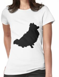 Pomeranian Silhouette Womens Fitted T-Shirt