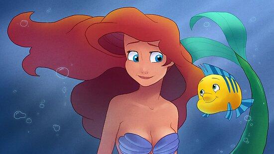 The Little Mermaid - Ariel and Flounder by Tom Skender