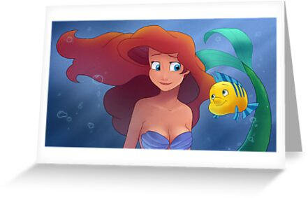 The Little Mermaid - Ariel and Flounder by Tom Skender