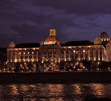 Gellert Baths and Spa Budapest. The Danube River in Budapest at night. by Anatoly Lerner