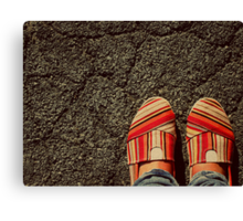 Shoes on  the Cement Canvas Print