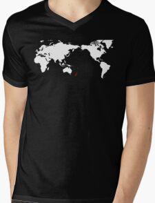 World Map New Zealand Mens V-Neck T-Shirt