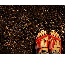 Shoes in the Mulch Photographic Print