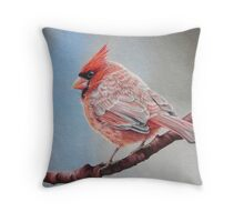 Cardinal on a cherry branch Throw Pillow