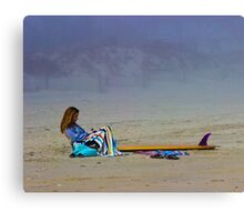 Girl with Surfboard Canvas Print