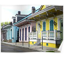 Colorful Shotguns/ New Orleans French Quarter Poster
