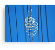 White Plastic Scrolls on Telephone Lines Canvas Print