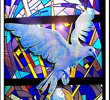 Peace on Earth Easter Dove Holy Spirit Digital Poster Art  by Rick Short